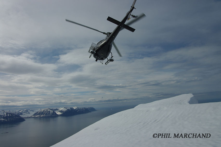 Helicopter skiing in northern Iceland. Photo: Phil Marchand