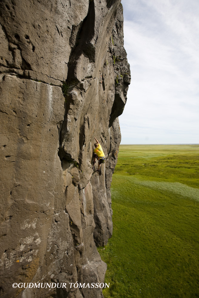 Rock climbing in Hnappavellir in south Iceland
