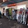 The arsenal of a proper heli ski company includes lots of skis